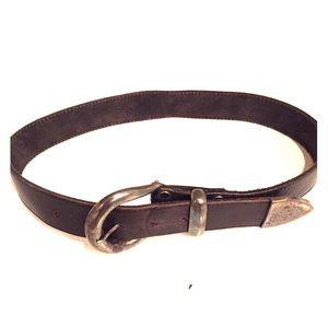 Accessories - Vintage black belt with metal hardware